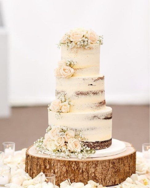 Dainty Floral Country Wedding Cakes