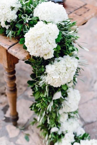 Dainty White Hydrangea Flowers Wedding Art