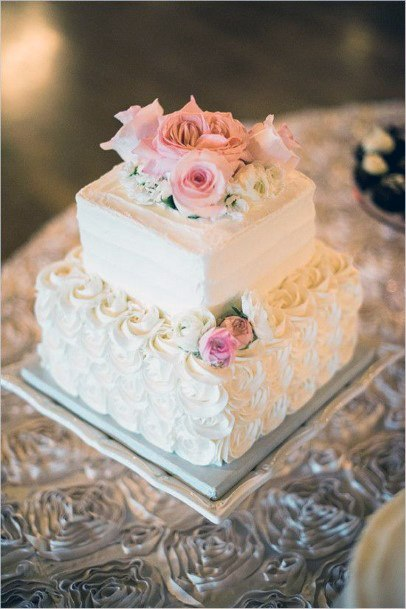 Dainty White Square Wedding Cakes
