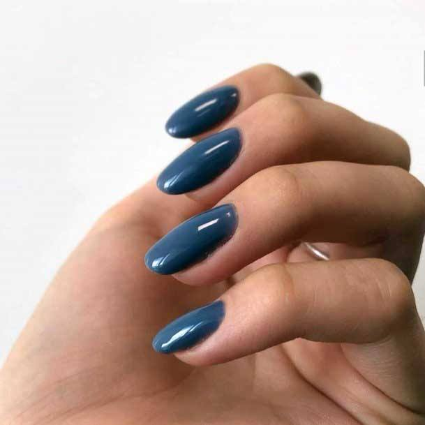 Dark And Deep Grey Toned Blue Nails