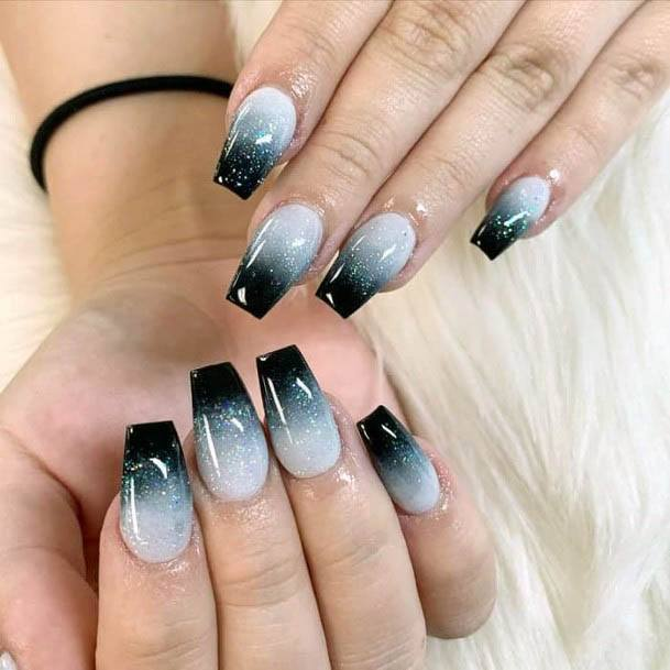 Dark And White Ombre Nails Women