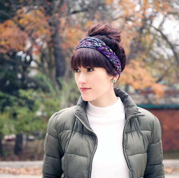 Dark Auburn Hair With High Thick Bun And Bangs