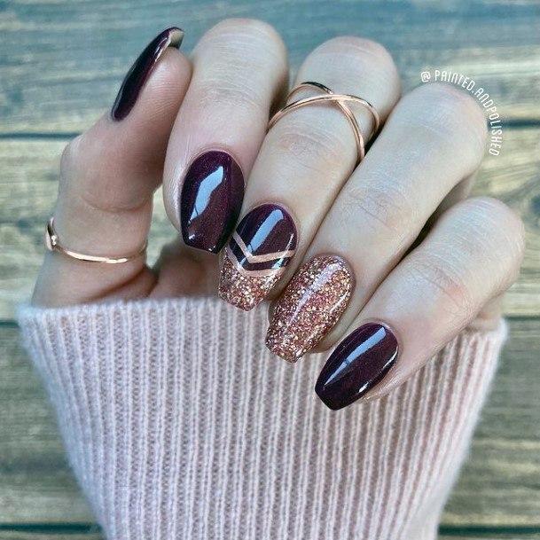 Dark Berry Sparkles Romantic Nails