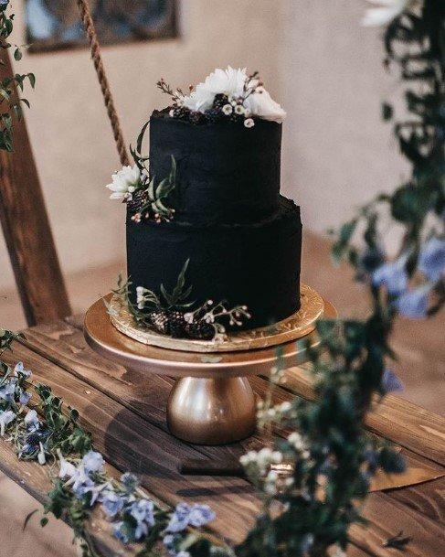 Dark Black 2 Tier Wedding Cake