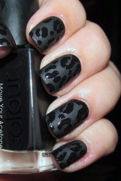Dark Black Women Nails With Embossed Leopard Print