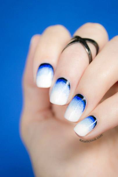 Dark Blue And White Ombre Nails Women
