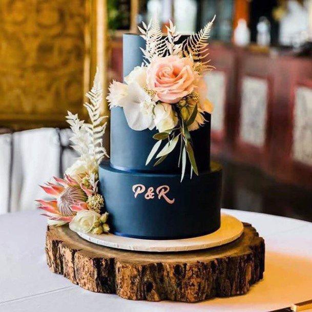 Dark Blue Fondant Wedding Cake Roses