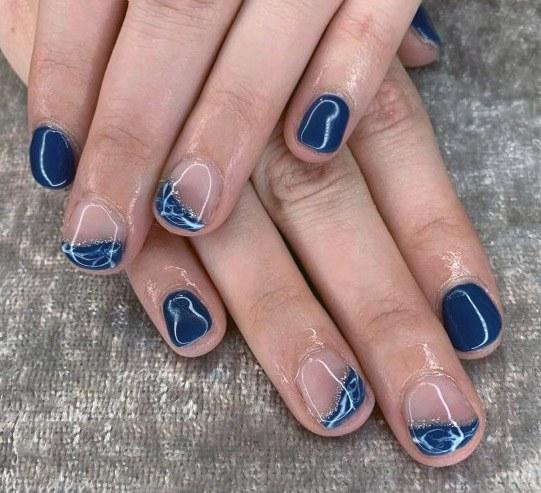 Dark Blue Short Nail Designs Women