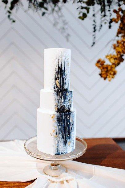 Dark Blue Sprayed White Wedding Cake