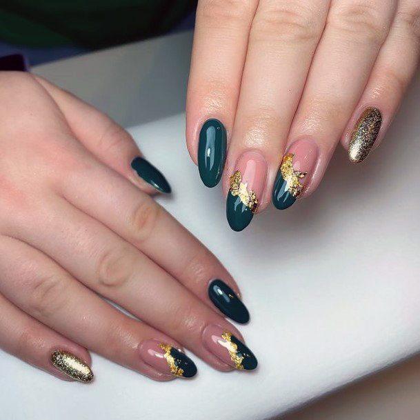 Dark Bluish Green Nails With Gold Art Nails Women