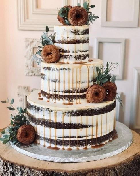 Dark Brown Cacao Donut Wedding Cake