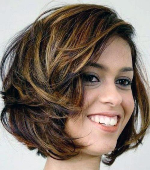 Dark Brown Copper Short Cut With Side Part And Easy Airy Hair Look