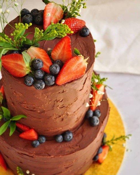 Dark Brown Creamy Chocolate Wedding Cake