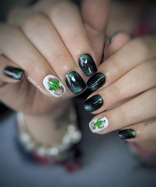 Dark Cactus Nails Women