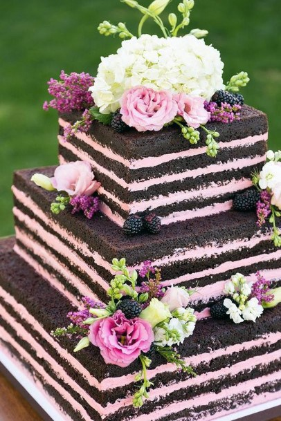 Dark Chocolate And Pink Square Wedding Cake