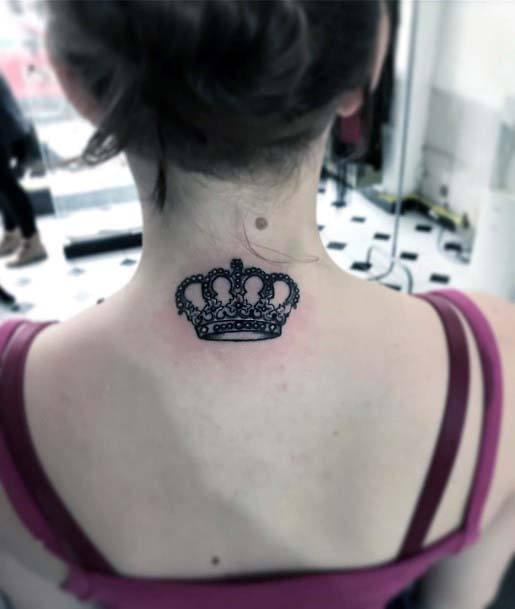 Dark Crown Tattoo Back Women