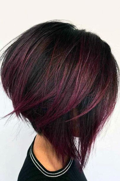 Dark Female Thick Airy Hair With Red Highlights Inverted Wedge