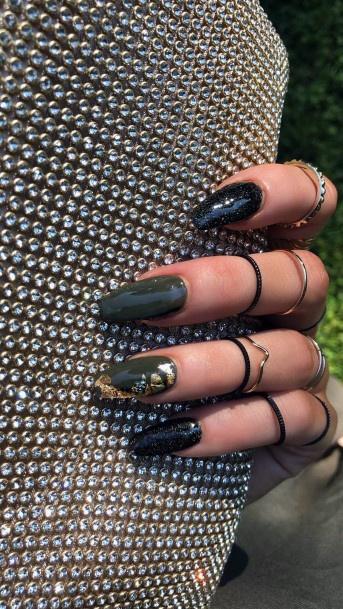 Dark Green And Gold Nails Women