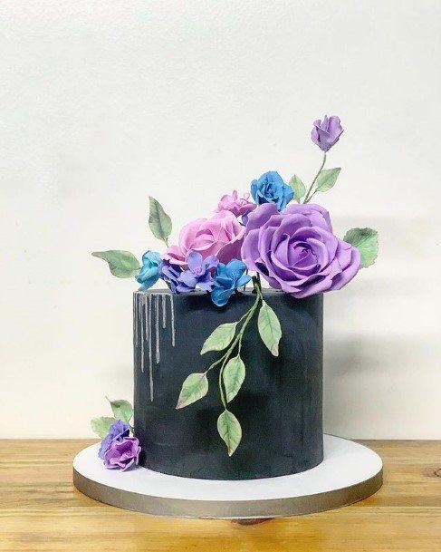 Dark Grey Purple Wedding Cake Flowers