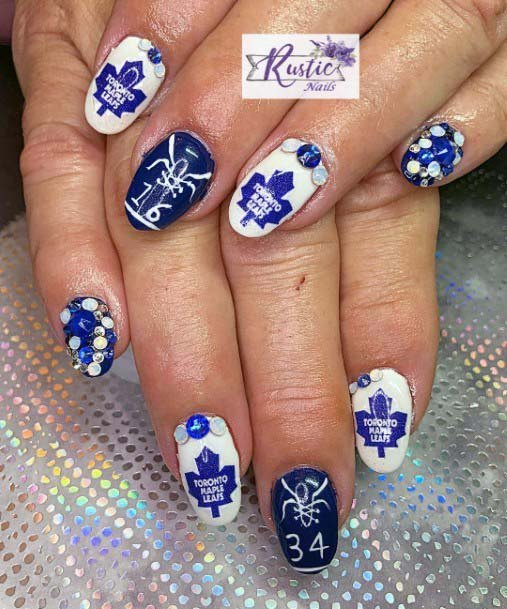 Dark Inked Blue And White Sport Nails For Women