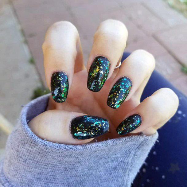 Dark Iridescent Nails Women