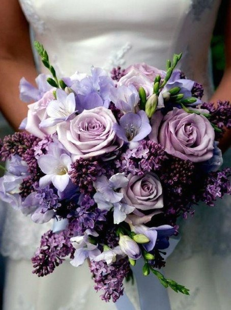 Dark Lilac And Purple Roses June Wedding Flowers
