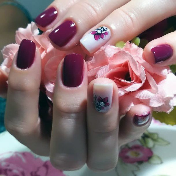 Dark Magenta With Crystals Charming Nails For Women