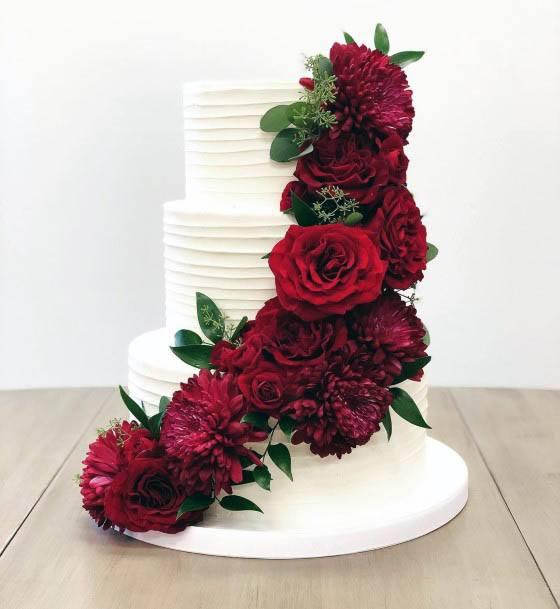 Dark Maroon Red Flowers Wedding And Cakes