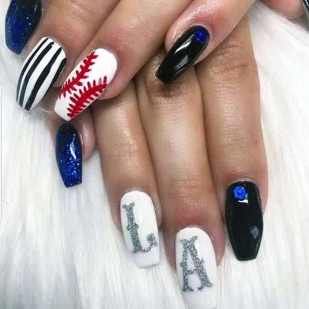Dark Midnight Blue And White Sport Nails For Women