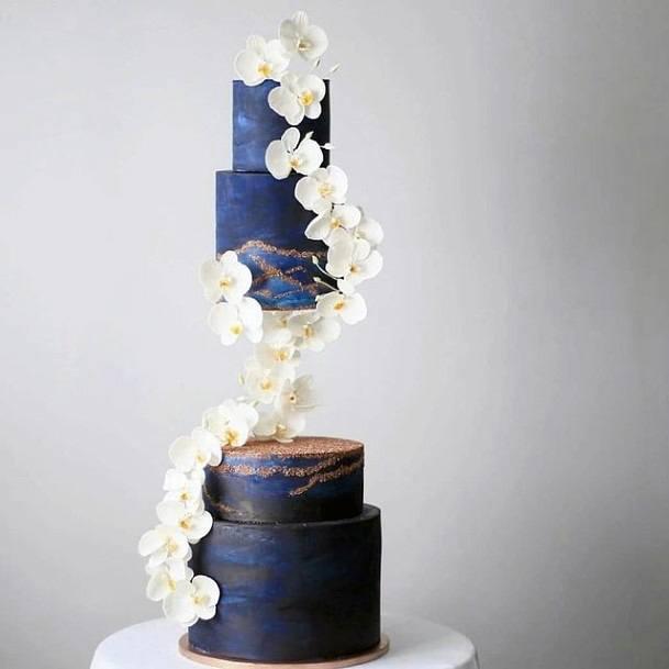 Dark Navy Blue Magical Wedding Cake
