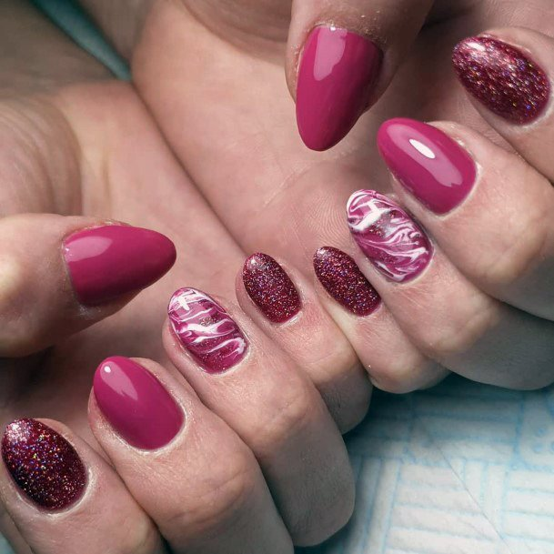 Dark Pink Toned Nails Design