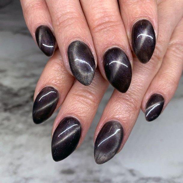 Dark Plum Red Cat Eye Nails