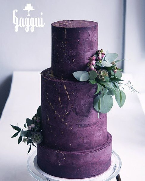 Dark Purple Wedding Cake Greens