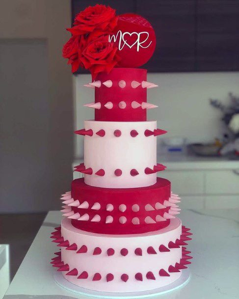 Dark Red And Pink Unique Wedding Cake
