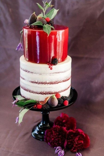 Dark Red And White Buttercream Wedding Cake