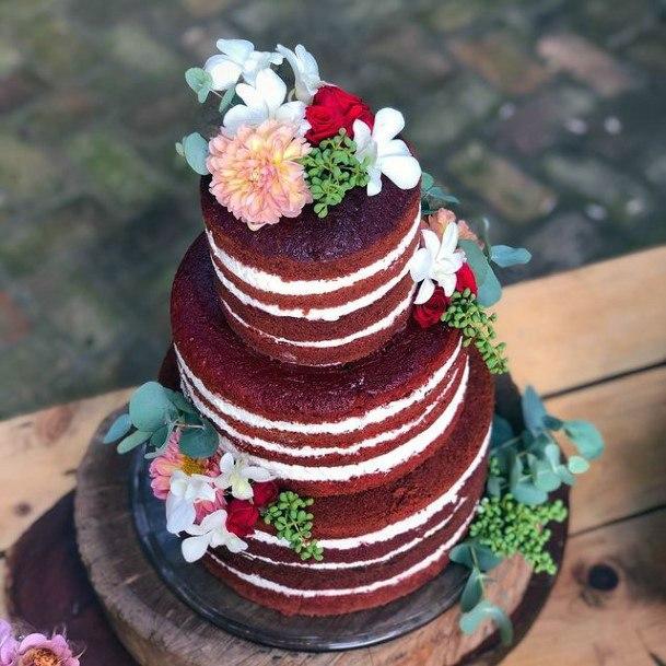 Dark Red Velvet Wedding Cake