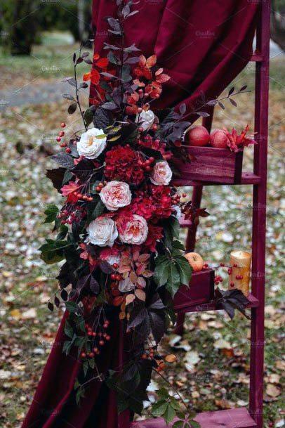 Dark Red Wedding Flowers And Fabric