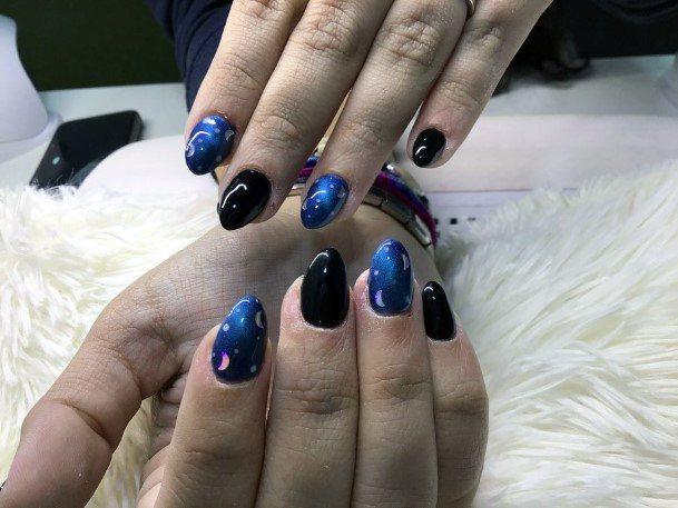Dark Sky And New Moon Cat Eye Nails