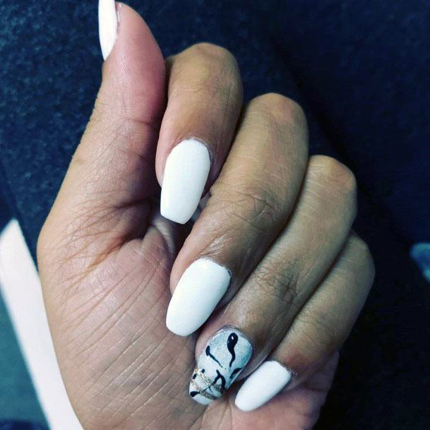Dark Squiggly Lines On White Gel Nails For Women