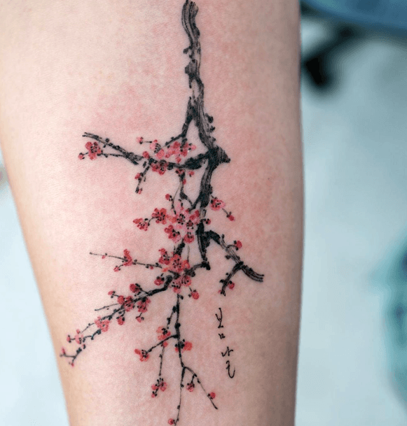 Dark Twig With Cherry Blossom Tattoo For Women