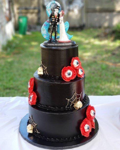Dark Webbed Halloween Wedding Cakes