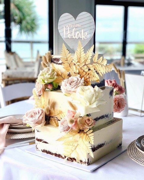 Dazzling Flowers Light Square Wedding Cake