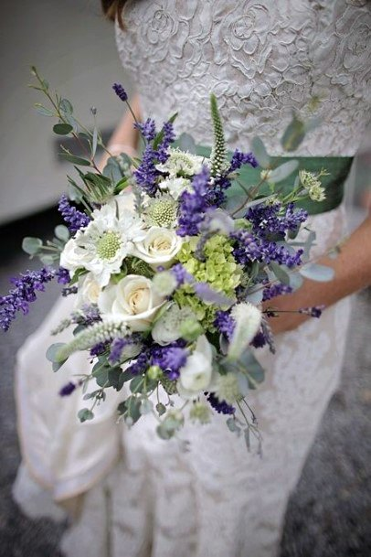 Dazzling Lavender And White Roses Wedding Flowers