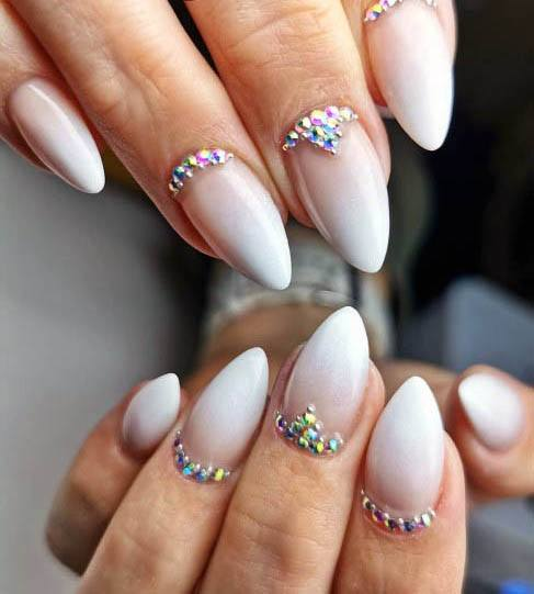 Dazzling Stones And White Ombre Nails Women