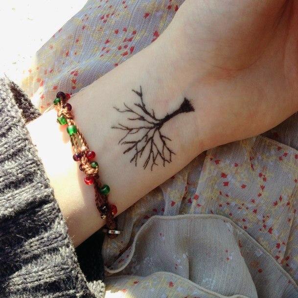 Dead Tree Tattoo Womens Wrist