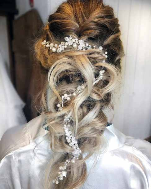 Decorated Silver Ringlets Hairstyle For Women