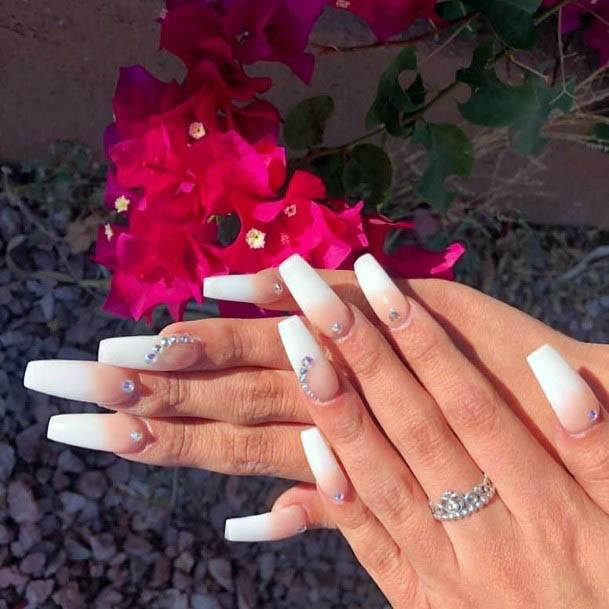 Decorated White Ombre Nails Women