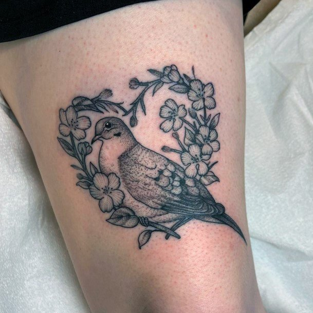 Decorative Dove And Flowers Tattoo For Women