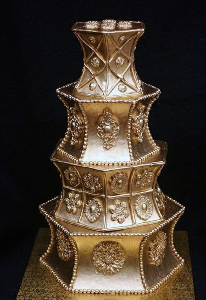 Decorative Golden Wedding Cake