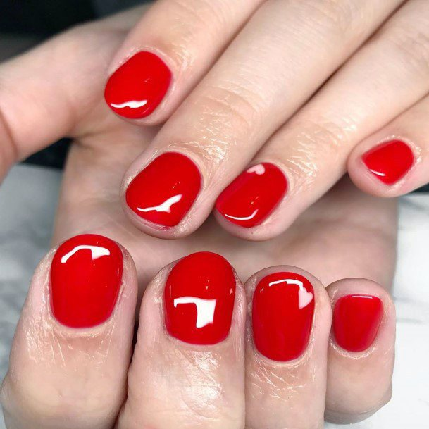 Deep Bright Red Nails For Women